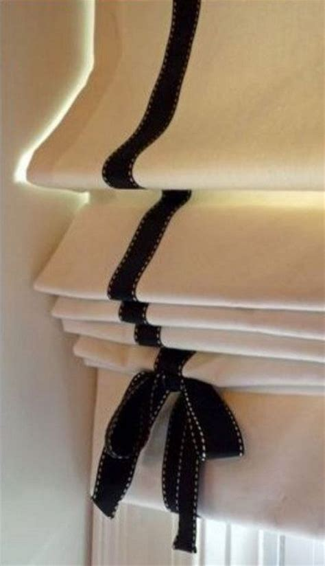 roman shade details roman blind  black ribbon trim