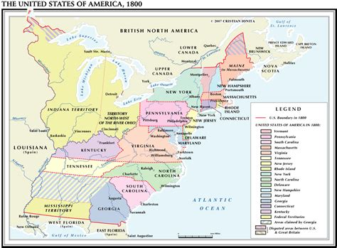 map of the united states in 1800 usa 1800