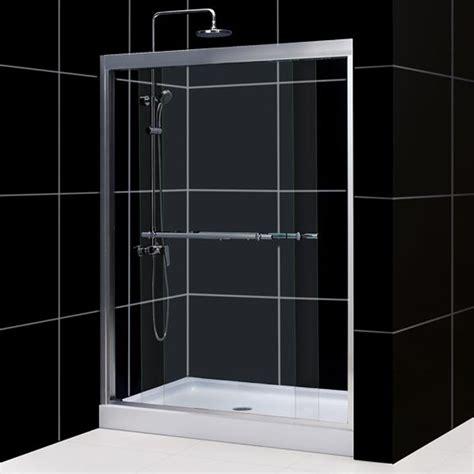 dreamline duet dual sliding glass shower doors and tray