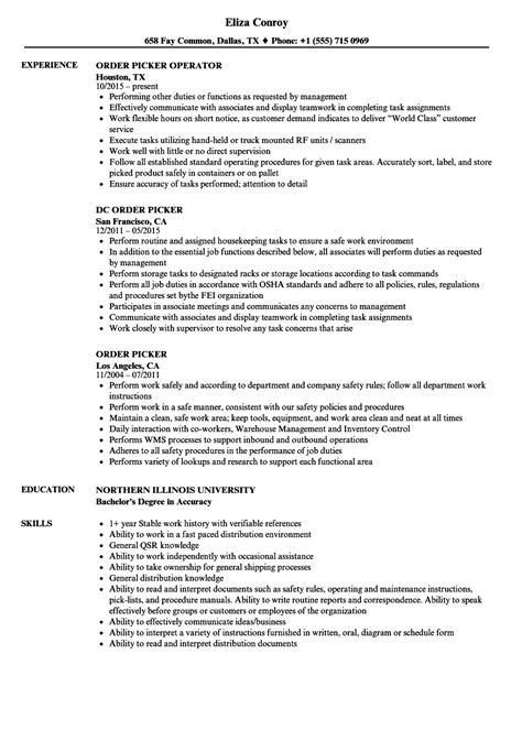 sle cto resume order picker resume sle resume ideas