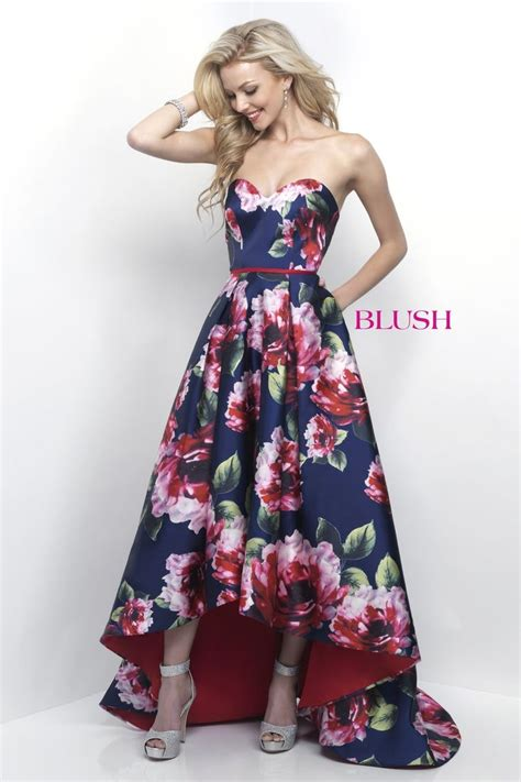 blush prom  navy high  floral sweetheart prom