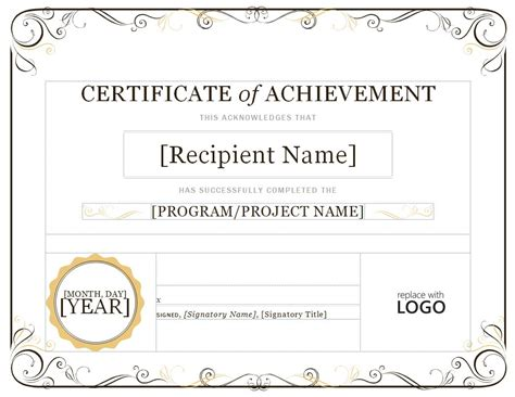template of a certificate certificate of achievement certificate of achievement