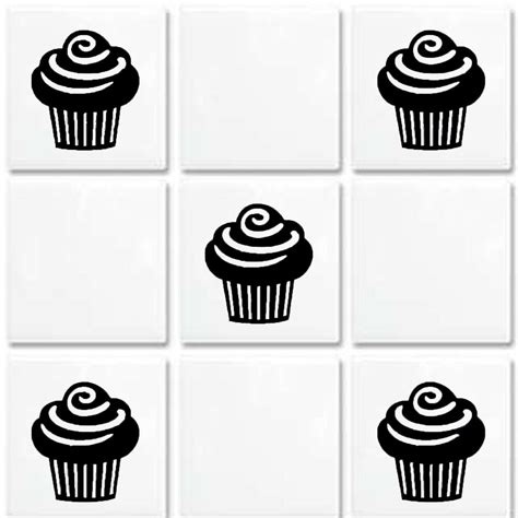 cupcake vinyl wall tile stickers decal transfers for