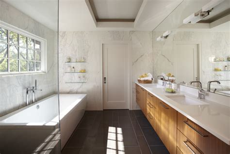 Galley Bathroom Designs Simplistic Galley Contemporary Bathroom Other By Caden Design