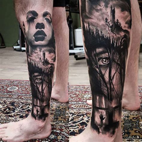 horror leg sleeve tattoo by joey boon