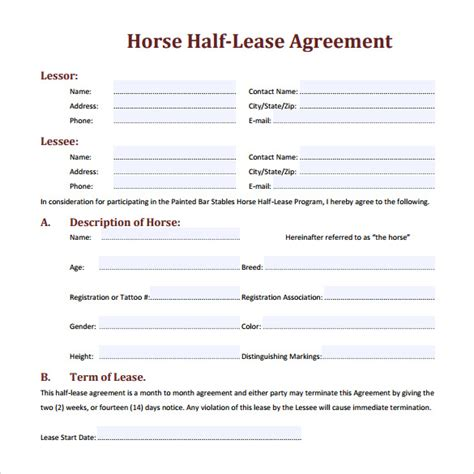 free printable horse lease agreement horse lease agreement 10 download free documents in pdf