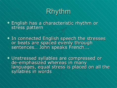 stress pattern in french the sound system of english