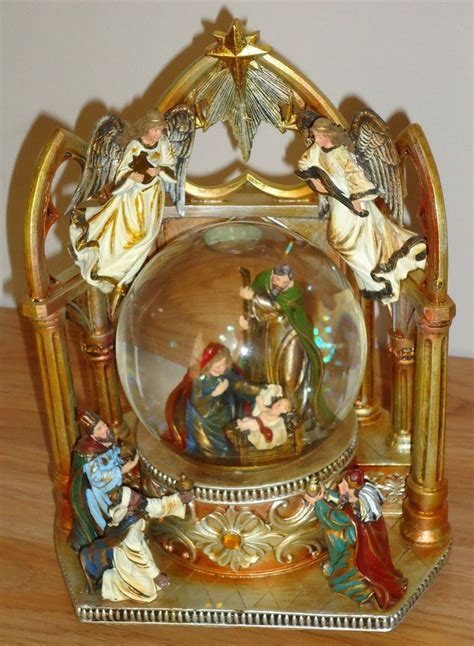 mark roberts musical creche globe snow globe musical nativity holy family w wise w box beautiful nativity sets i