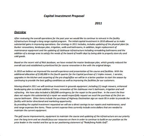 investment proposal templates 17 free sle exle