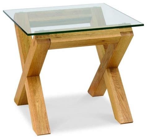lyon oak glass dining table bentley designs lyon oak glass top l table modern side tables end tables west