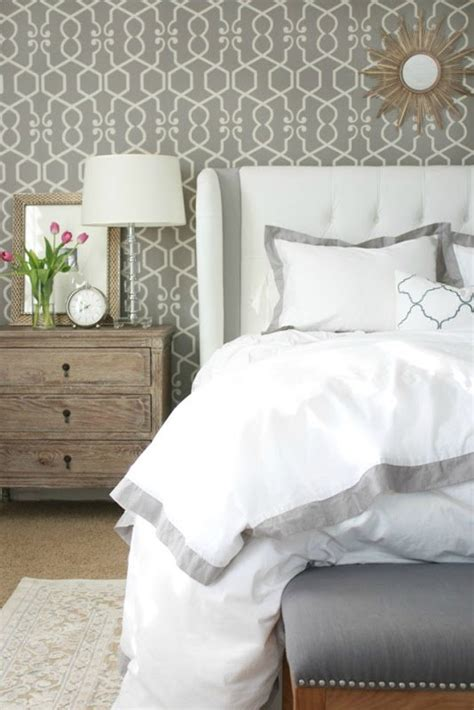 grey wallpaper master bedroom master bedroom layers of bedding a thoughtful place