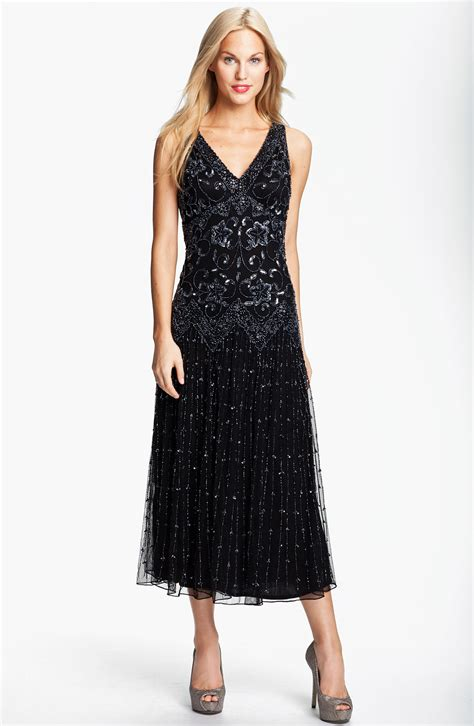 beaded dress pisarro nights beaded mesh dress in black black gunmetal