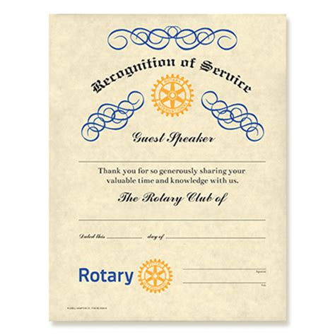 rotary certificate of appreciation template rotary guest speaker certificate rotary club supplies