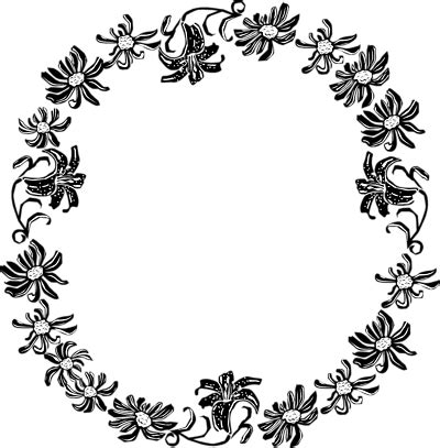 black and white flower border clipart clipart library