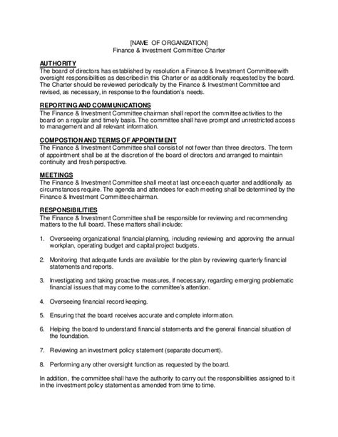 charter template for a committee f i charter template