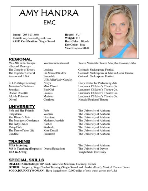 how to write a resume for acting auditions resumes template resume builder
