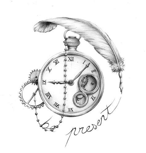 tattoo feather clock owl and clock tattoo design
