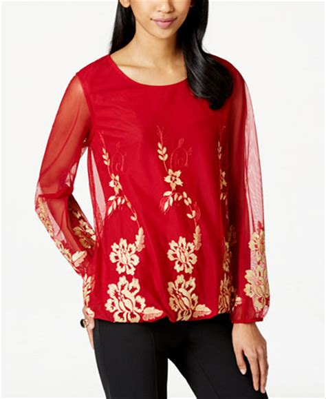 Alfani Blouse by Alfani Embroidered Hem Blouse Only At Macy