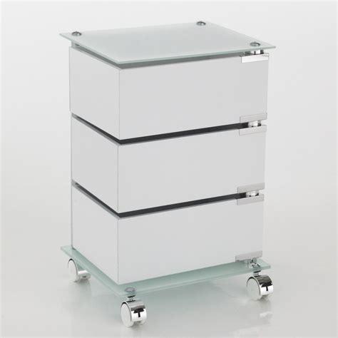 cassetti ufficio cassettiera con ruote in vetro e legno 3 o 5 cassetti dennis