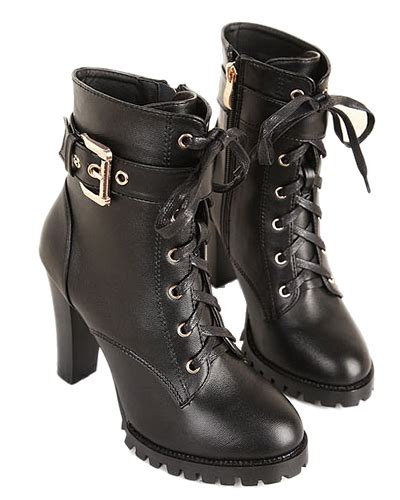 black lace up high heeled ankle boots with side zipper