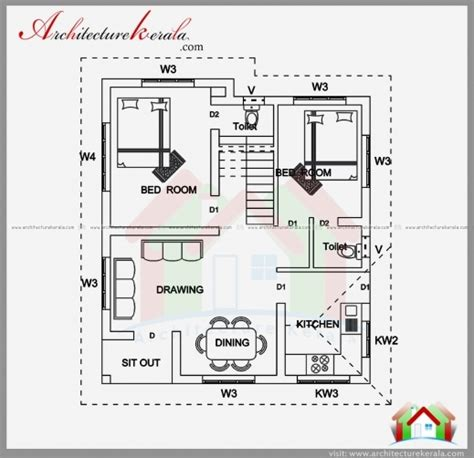 floor plan and elevation of 2203 square feet 205 square best 2 bedroom house plan and elevation in 700 sqft