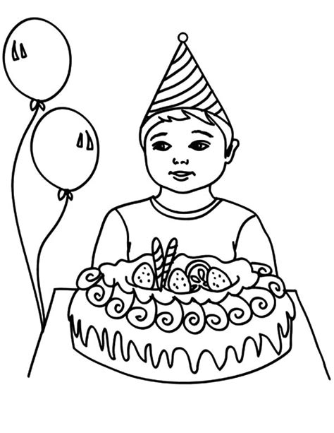 birthday coloring page for boy birthday boy opening his present coloring pages best