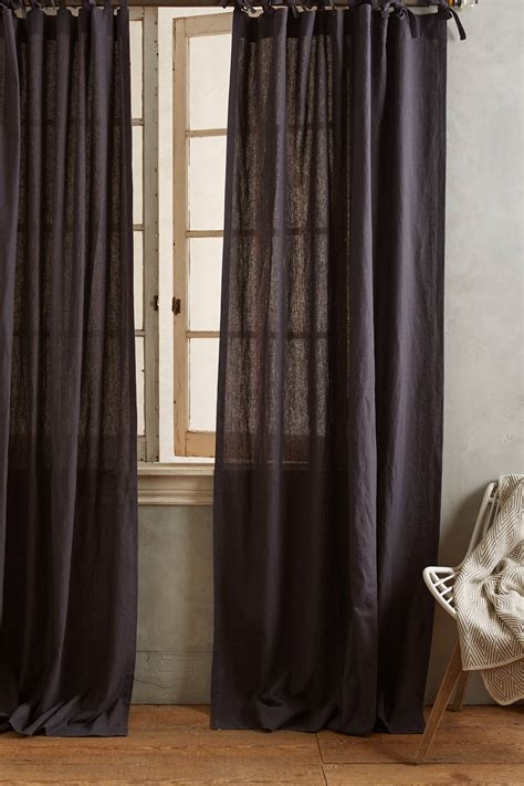 tied curtains linen tie top curtain anthropologie
