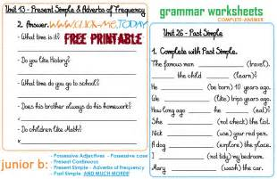 junior b free printable grammar worksheets c a
