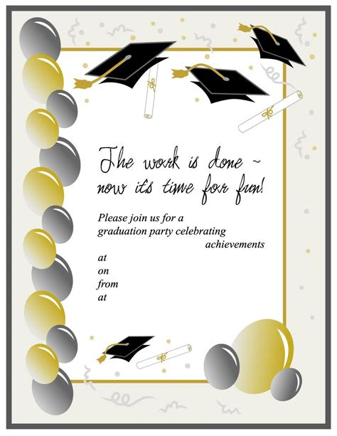 printable graduation templates 40 free graduation invitation templates template lab