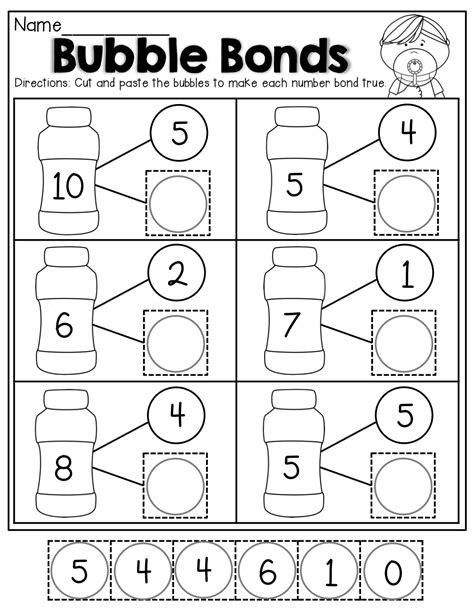 Number Bonds Worksheets by Number Bonds Cut And Paste Kindergarten