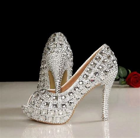 Shoe Bling by 4 5 Inches Peep Toe Wedding Shoes Bling Peep Toe Bridal