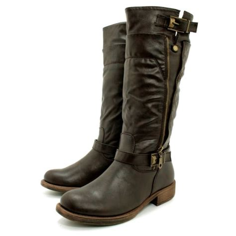womens brown leather style biker buckle zip knee boots