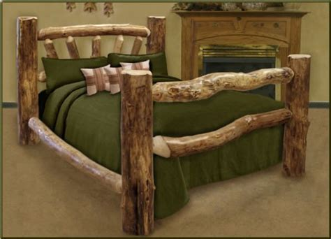 Log King Bed Frame King Size Custom Aspen Log Bed Furniturendecor