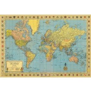 Decoupage Map Paper - world map 2 decorative decoupage paper poster print gift