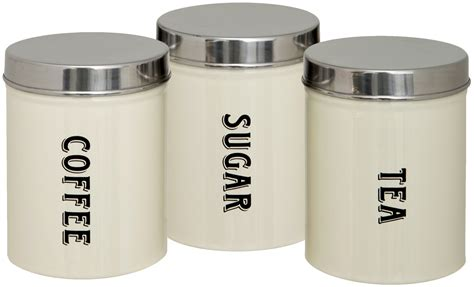 set of 3 new tea coffee sugar kitchen storage canisters