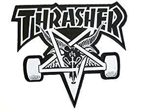 thrasher skate goat logo amazon com thrasher skate goat 666 pentagram skateboard