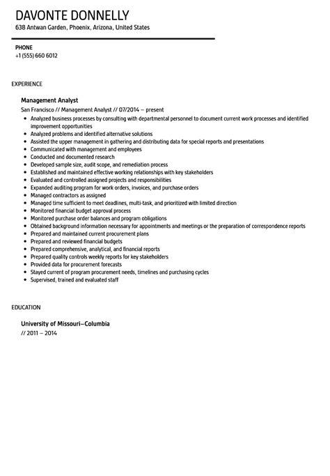 Management Analyst Resume by Management Analyst Resume Sle Velvet