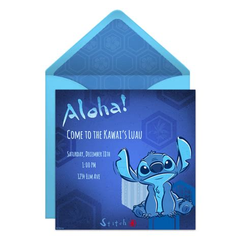 Aloha Lilo Stitch Luau Online Invitation Disney Family Free Lilo And Stitch Invitation Template