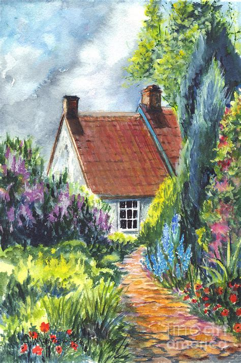 Cottage Garden Paintings by The Cottage Garden Path Painting By Carol Wisniewski