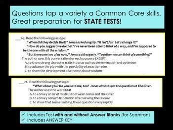 The Giver Test Whole Novel Test With Common Core Stems