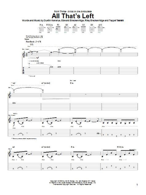 thrice guitar tabs all that s left by thrice guitar tab guitar instructor