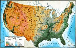 us physical features map printable united states physical map