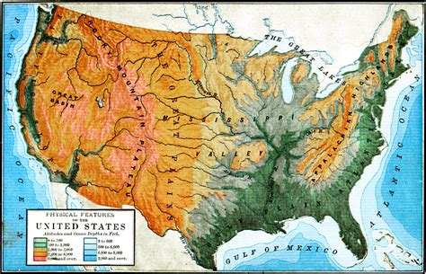 usa and canada physical features map physical features of the united states