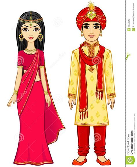 animation indian family stock vector image 63558010