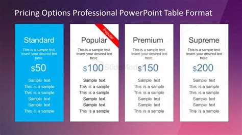 powerpoint design options professional pricing options powerpoint template slidemodel