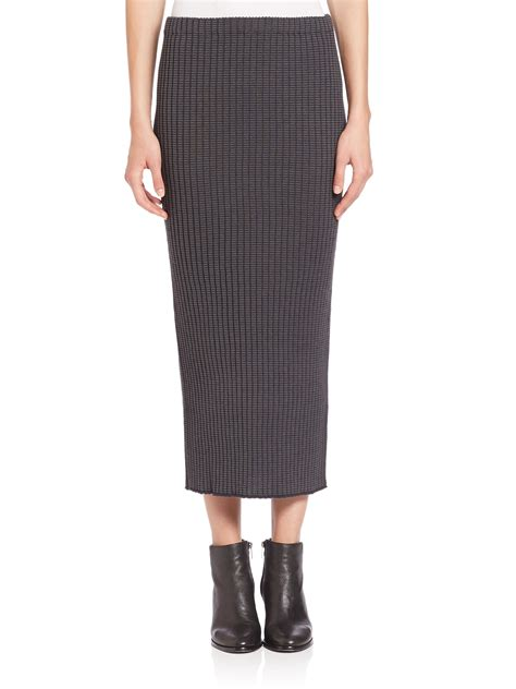 knit pencil skirt lyst wes gordon rib knit pencil skirt in gray