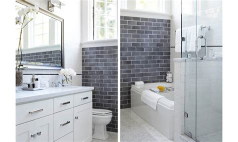 Grey Subway Tile Bathroom The Grey Subway Tile Bathrooms We Live In A White House Pinterest Grey Subway