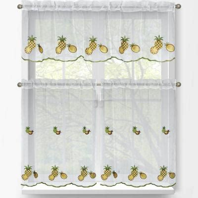 pineapple kitchen curtains window elements pineapple embroidered 3 piece kitchen
