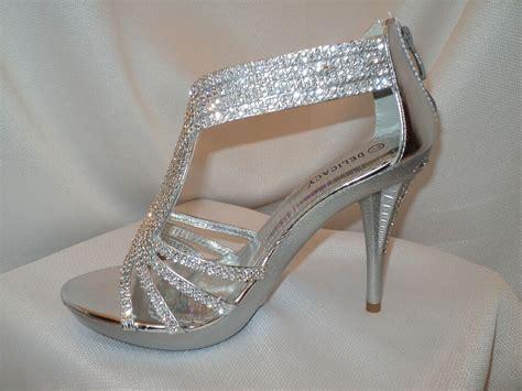 s silver strappy prom wedding dress sandal heel shoe rhinestones ebay