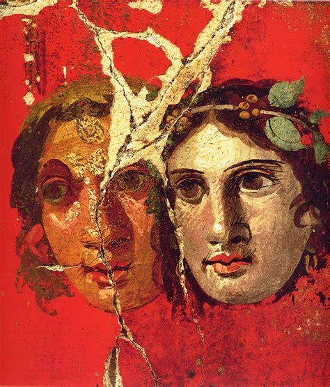 female theater masks roman fresco pompeii st cent